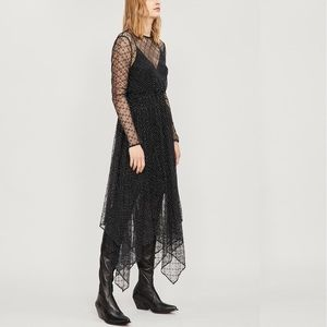 NWT MAJE Glitter-embroidered floral-lace dress